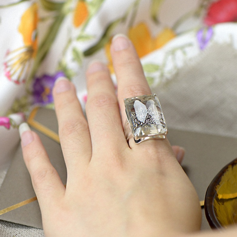 Authentique bijoux en argent Sterling 925 anneau en cristal naturel fête Midi anneaux pour femmes pierres précieuses élégant bijoux fins