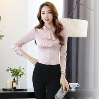 Tops Mulher 2018 Autumn Women Blouse Chiffon Womens Shirt Long Sleeve White Black Red Shirts Work