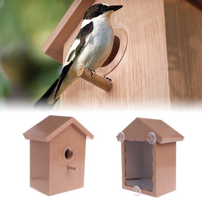 Outdoor Bird Nest With Suction Cup Wooden Bird House Nest Garden Decoration Supplies Bird Nest For Home Window