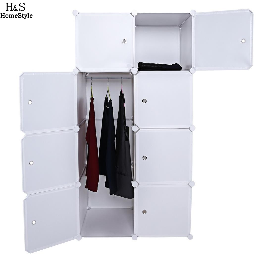 Homdox Folding Combination Cube Cupboard Cabinet Closet Storage Organizer 2 Column 4 Layer DIY Bedroom Book Toy Cabinets N30*