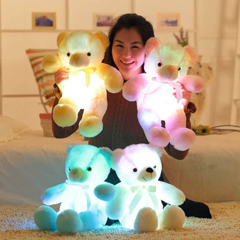 Kích Thước lớn Sáng Tạo Ánh Sáng Up LED Gấu Bông Thú Nhồi Bông Đồ Chơi Sang Trọng Đầy Màu Sắc Rực Rỡ 75 cm Gấu Bông Món Quà Giáng Sinh cho Trẻ Em