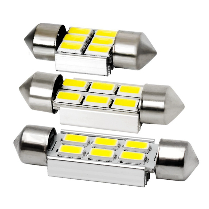 2Pcs 36MM Canbus Error Free LED C5W 5630 6SMD Festoon Dome Map Light Bulbs 12V