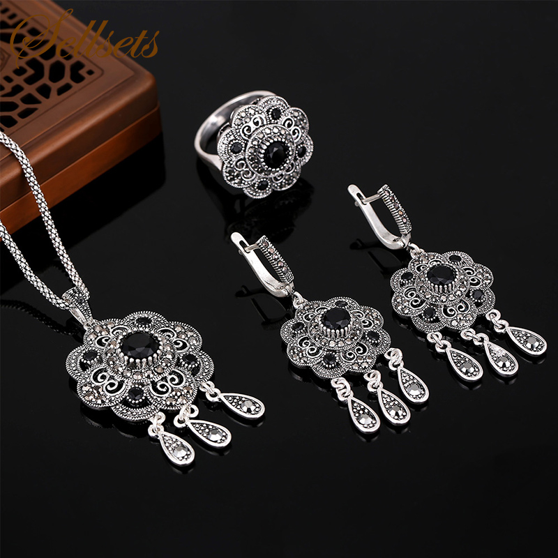 Sellsets Vintage Turkish Jewellery Antique Silver Color Fashion Black Rhinestone Flower Jewelry Sets For Women Party Gift