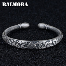 BALMORA Solid 999 Pure Silver Six Word's Sutra Buddhism Bangles for Women Mother Lover Gift Jewelry Accessories Esposas SZ0225