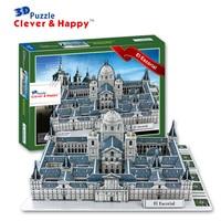 Candice guo puzzle 3d diy giocattolo modello di costruzione di carta assemblare lavoro a mano gioco Monasterio de El Escorial Spagna chiesa cattedrale 1 set