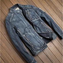 Men's Autumn Denim Jacket 100% Cotton Solid Casual Jean Jackets Vintage Bomber Jacket Zipper Mens Jackets And Coats A1431