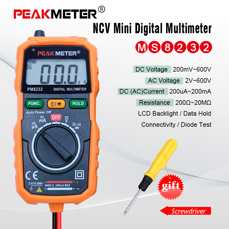 PEAKMETER MS8232 Non-contacter Numérique Multimètre DC/AC tension courant testeur Auto Power off Numérique Multimètre Testeur