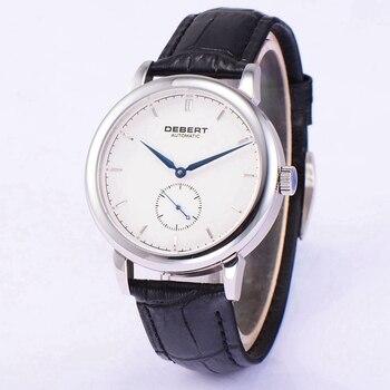 "Debert 40 מ""מ Mens שעון אוטומטי חיוג לבן Subdial שניות שעונים תנועת שחף שעון רצועת עור שחור DT7031BDW-בשעונים מכניים מתוך שעונים באתר"