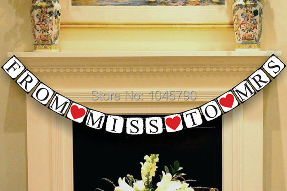 1 X от мисс миссис баннер девичник знак Свадебная вечеринка украшения поставки