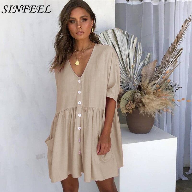 Women Summer Beach Dress Casual Half Sleeve Sexy V-Neck Button Pocket Loose Dress Boho Mini Party Elegant Dresses Vestidos