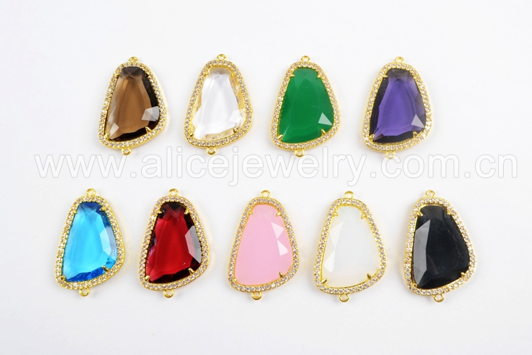 Beautifull blue slice electroplating Star Coral Connector gems bar Gold Plated 35x23x7 mm