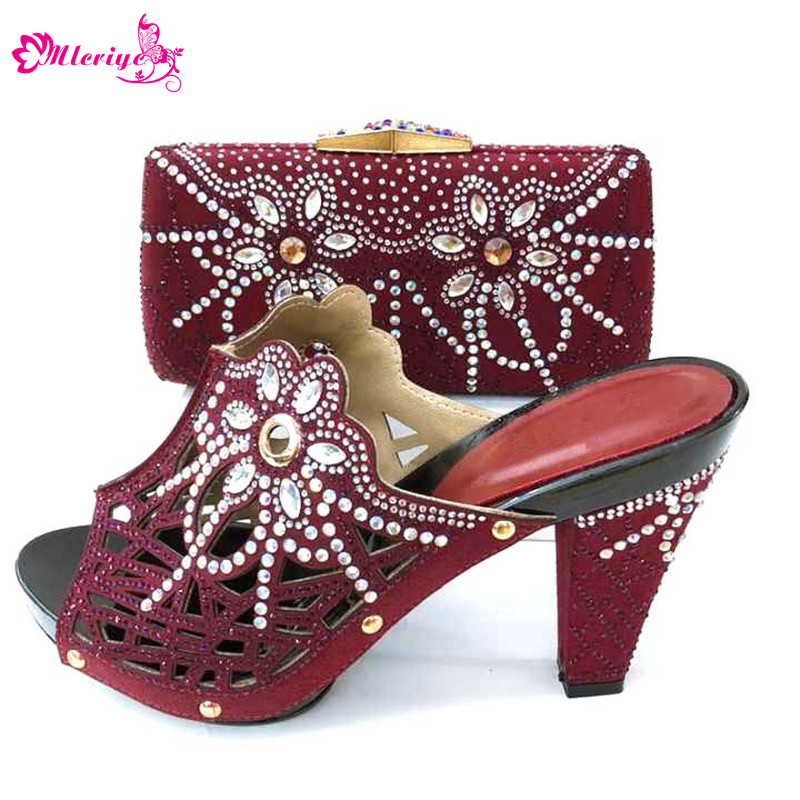 Hot Sale African Wedding Shoes And Bag Set Fashion Adult Women High Heels Pumps Matching Bag with many stones