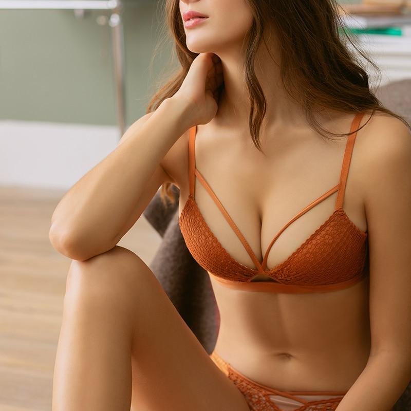 Buy Sexy Women  Lace Bra Sets Thin Deep V-neck Push Underwear Vintage Solid Color Bra Sets Female lingerie 2018