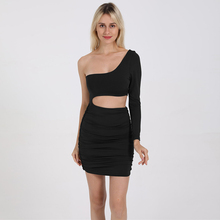 Sexy Cutout Beauty Back Dress New One-shoulder Long Sleeve Womens Halon Bag Hip Pleated Tight Party Mini