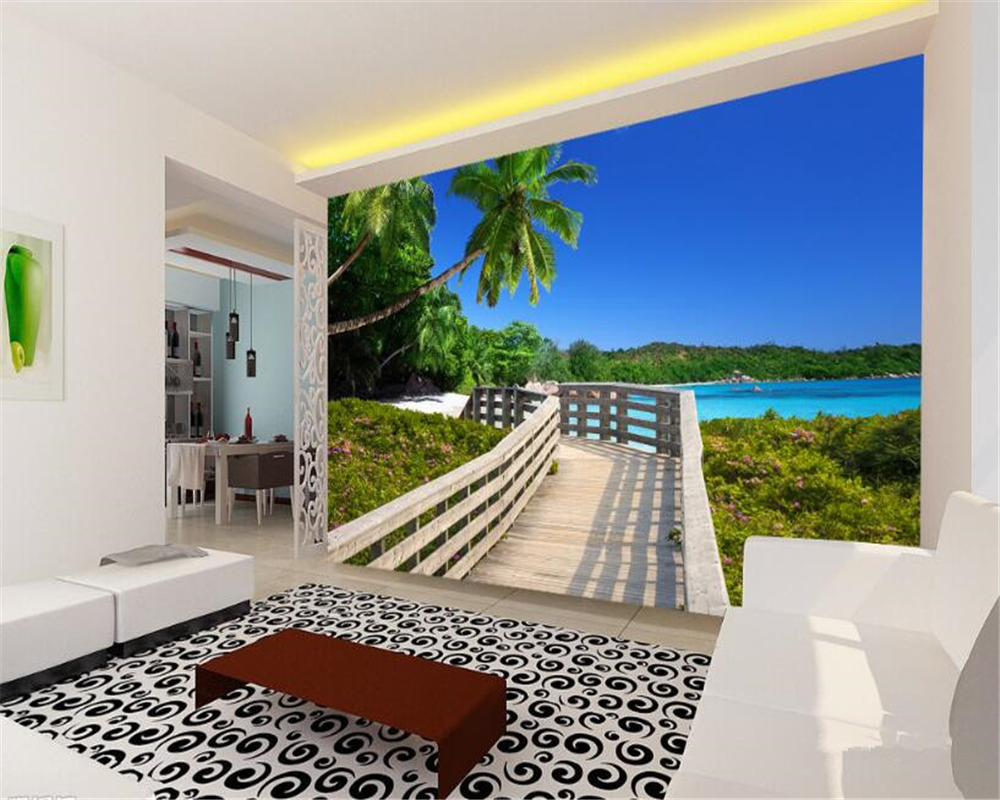 beibehang Custom high wallpaper wooden plank beach sea view 3d wall papel de parede infantil menina photo wall mural wallpaper large photo wallpaper bridge over sea blue sky 3d room modern wall paper for walls 3d livingroom mural rolls papel de parede