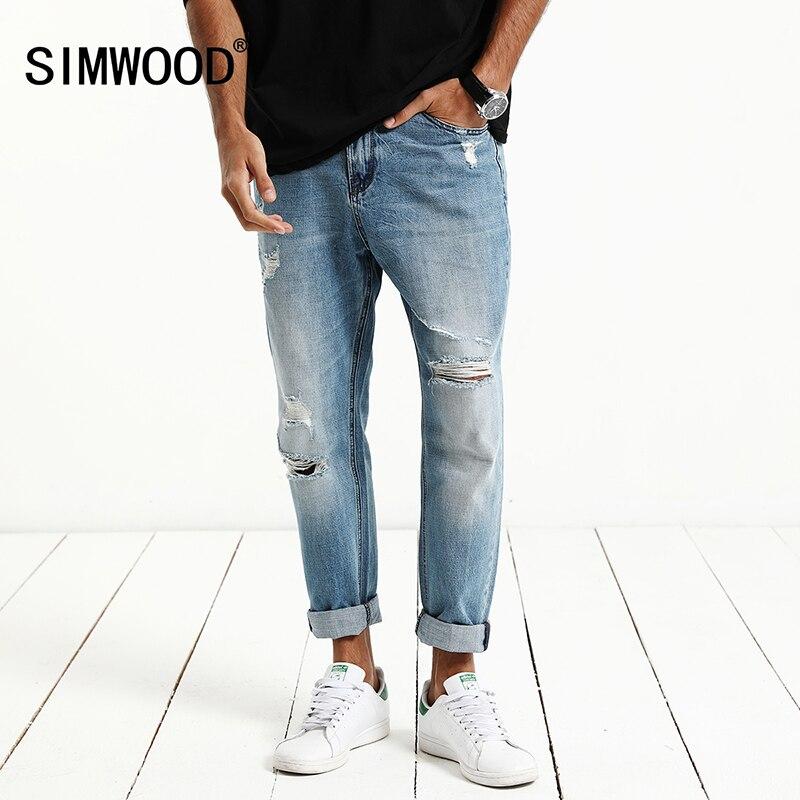 SIMWOOD 2017 New Spring Jeans Men Denim pants hole hip hop  Slim Fit Cotton Trousers SJ6085
