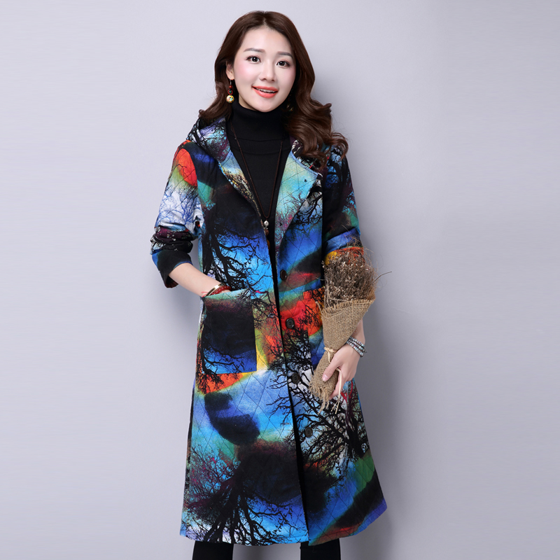 Women Hooded Fashion Coat Warm Autumn Winter Printing Flower Jacket&Coat Brand New Popular Glengarry Ethnic Style Outwear MY0029 coat