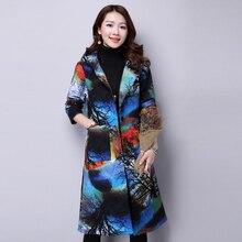 Women Hooded Fashion Coat Warm Autumn Winter Printing Flower Jacket&Coat Brand New Popular Glengarry Ethnic Style Outwear MY0029