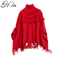 H.SA Women Winter Thick Batwing Pull Sweaters Turtleneck Ponchoes Real Rabbit Fur christmas sweater Tassel Poncho Knit Coat 2019