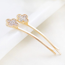 цена на HairPin 2017 Fashion Floral Crystal decoration Hair Dress and Accessories  For Women and Girls 1 Pair Gold Color free shipping