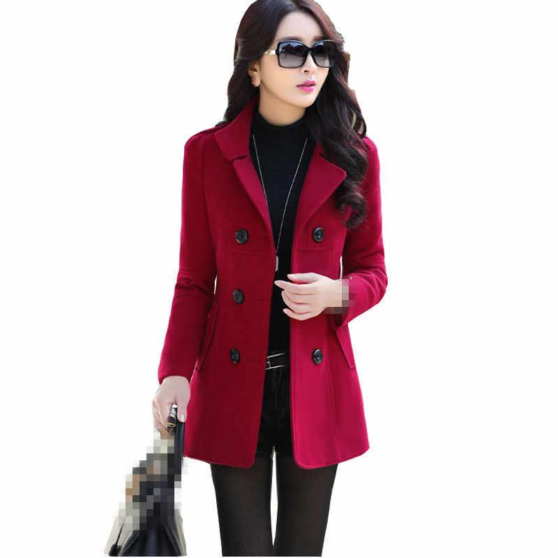 B3696 herbst winter 2019 neue frauen kurze stil reine farbe mode temperament schlank Blends mantel billig großhandel