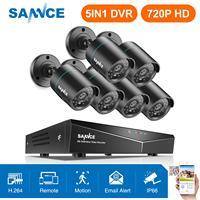 SANNCE 8CH HD 720 P Секьюрити видео система 5в1 DVR с 4 шт. 1280TVL TVI Smart IR внешнаа водозащитная камера комплект домашние наборы для наружного видеонаблюде
