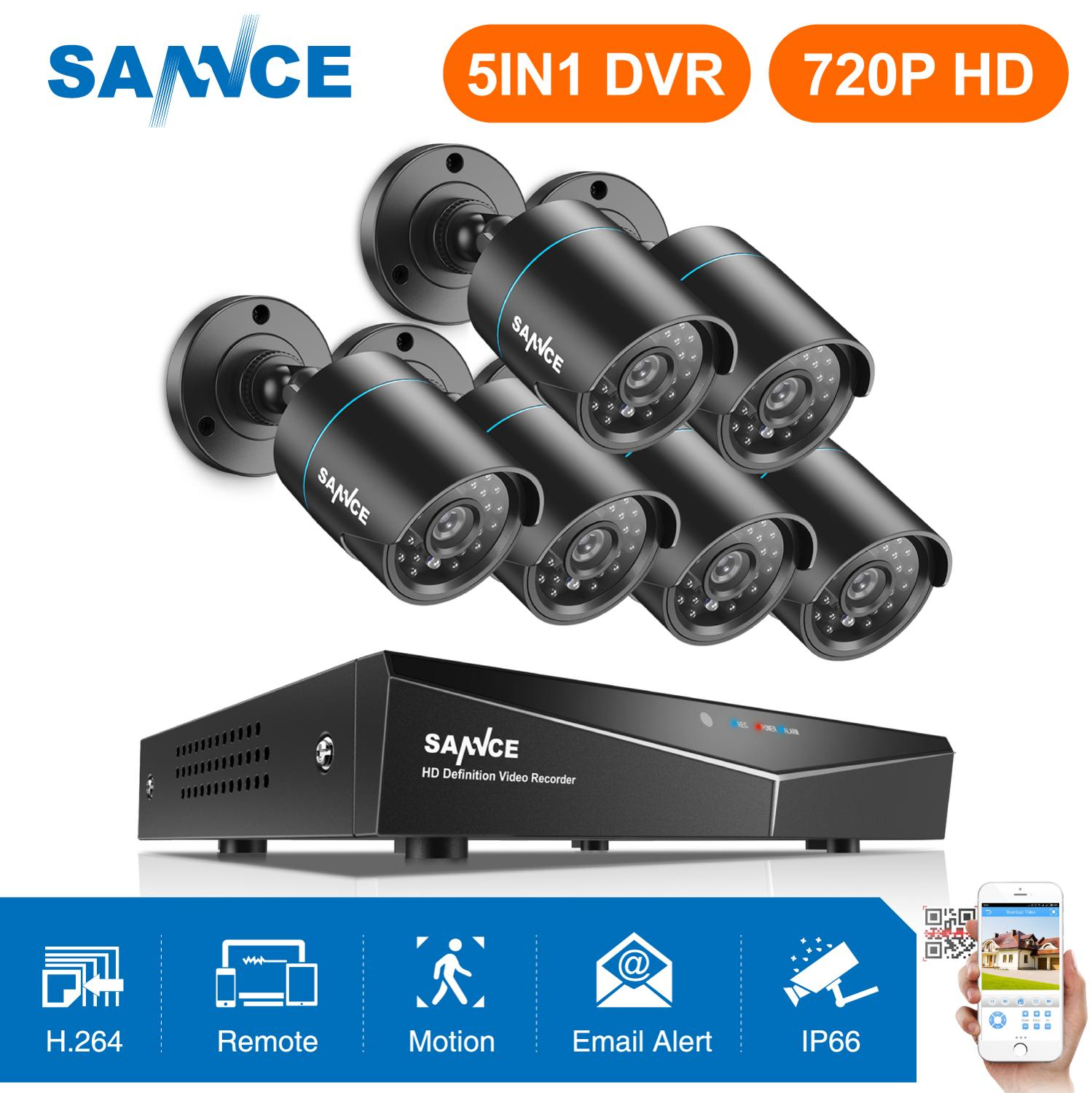 SANNCE 8CH HD 720P Securiry Video System 5IN1 DVR With 6PCS 1280TVL TVI Smart IR Outdoor