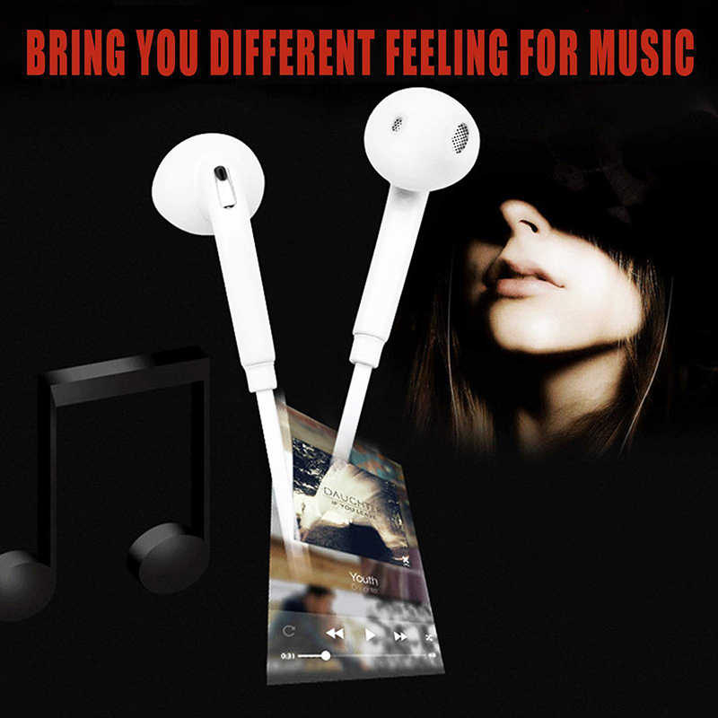 Bass White Headphones Sports Headphones 3.5 mm Jack Stereo White Line-controlled Headphones
