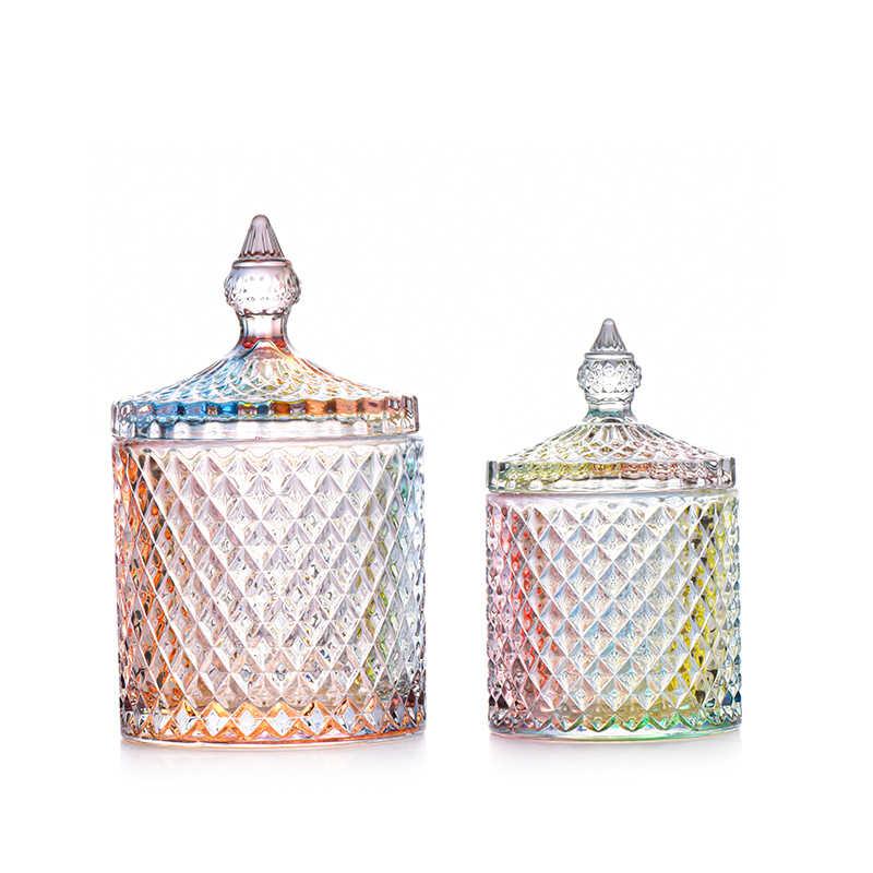Roman Jewelry Box Crystal Glass Jar Storage Bottle Coffee Sugar