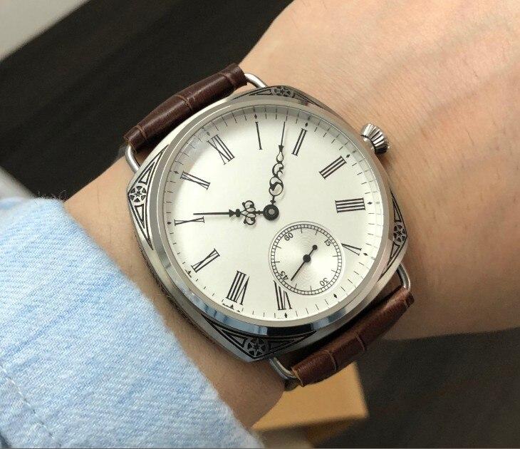 47mm GEERVO Aziatische 6498 17 juwelen Mechanische Hand Wind beweging carving decoratief patroon case Mechanisch horloge gr229 g8-in Mechanische Horloges van Horloges op  Groep 1