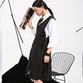 soonyour 2017 new  fall fashion hot sale   European and American black loose vest dress simple knot free shipping-4V00151