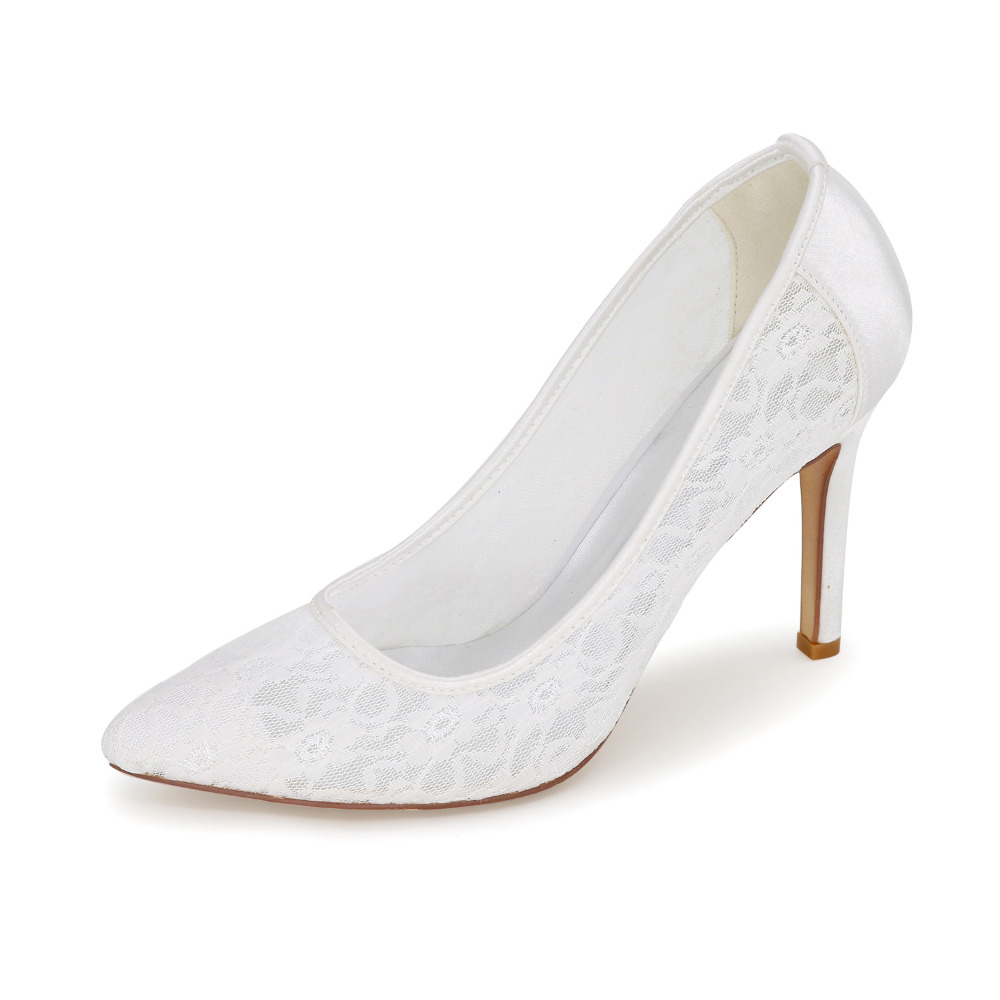 ФОТО Sweet soft lace pointed toe high heels lady pumps for wedding party bridal bridalmaids evening dress shoes pink white ivory blue