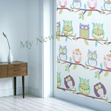 Cartoon Owl birds Privacy Window Film Decorative Stained Frosted Static Cling Glass sticker kids room Home Decor 45/60/90*200cm