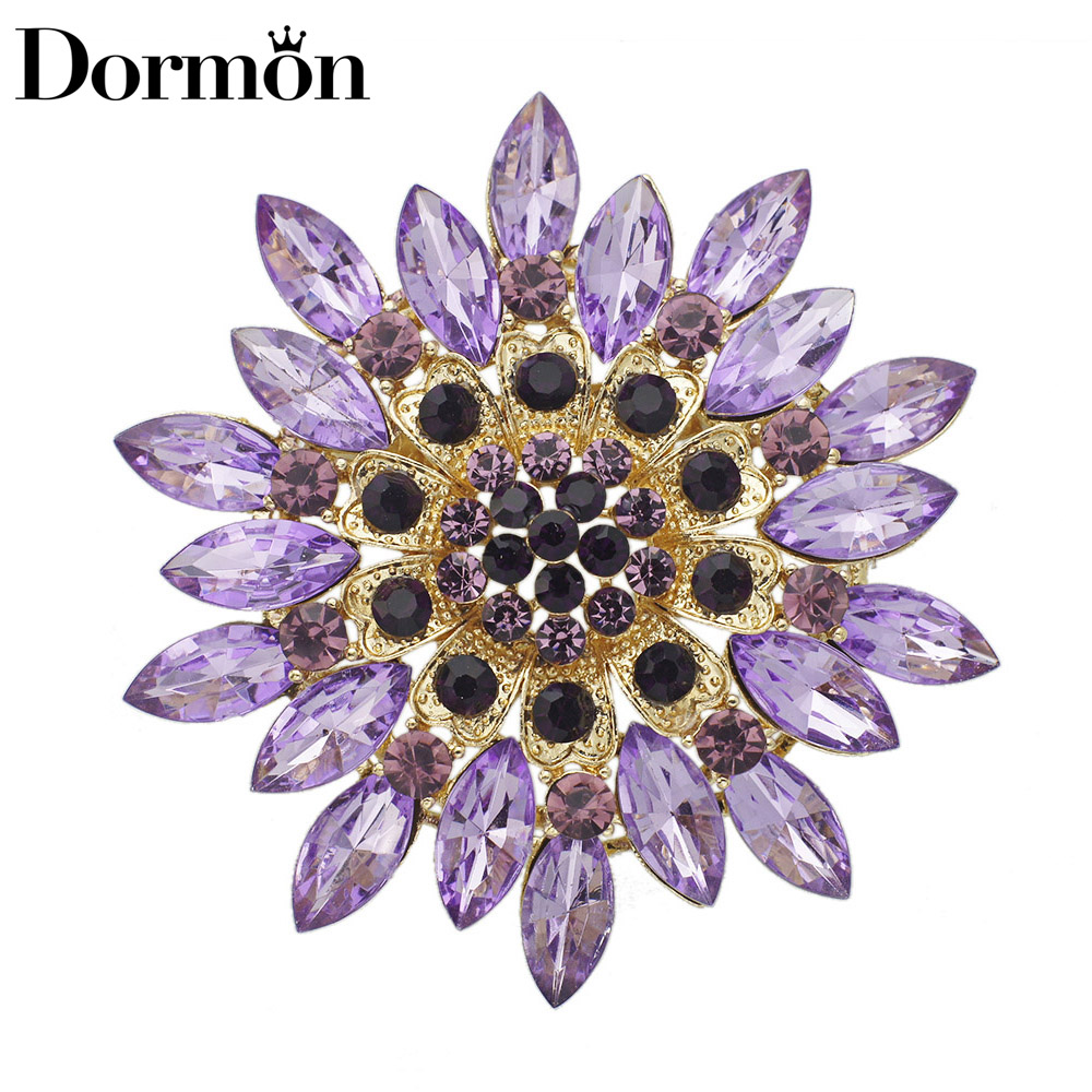 DORMON Classic Style Crystal Flower Brooch Multi Color Brooches For Women Female Party Jewelry DZ013