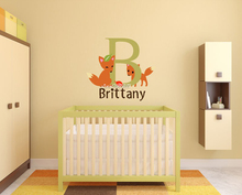 Cute Fox Personalized Name Wall Stickers Monogram Vinyl Wall Decal High Quality Wallpaper Decor Kids Boys