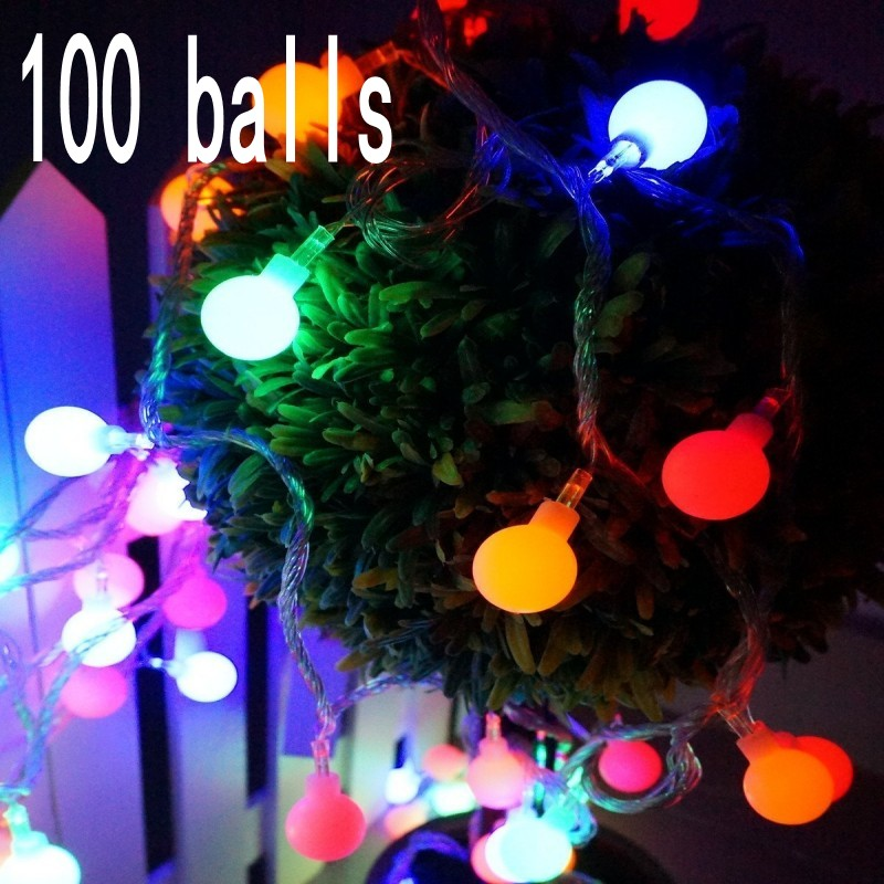 10M 100 Led Cherry Ball Fairy String Decorative Lights Battery Operated Wedding Party Christmas Outdoor Patio