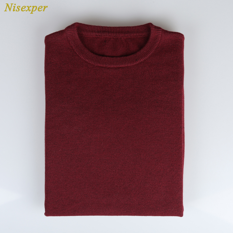 Nisexper 2018 New Autumn Fashion Mens Sweaters Men Knitted Solid Color Round Neck Mens Sweater Casual Pullovers Man