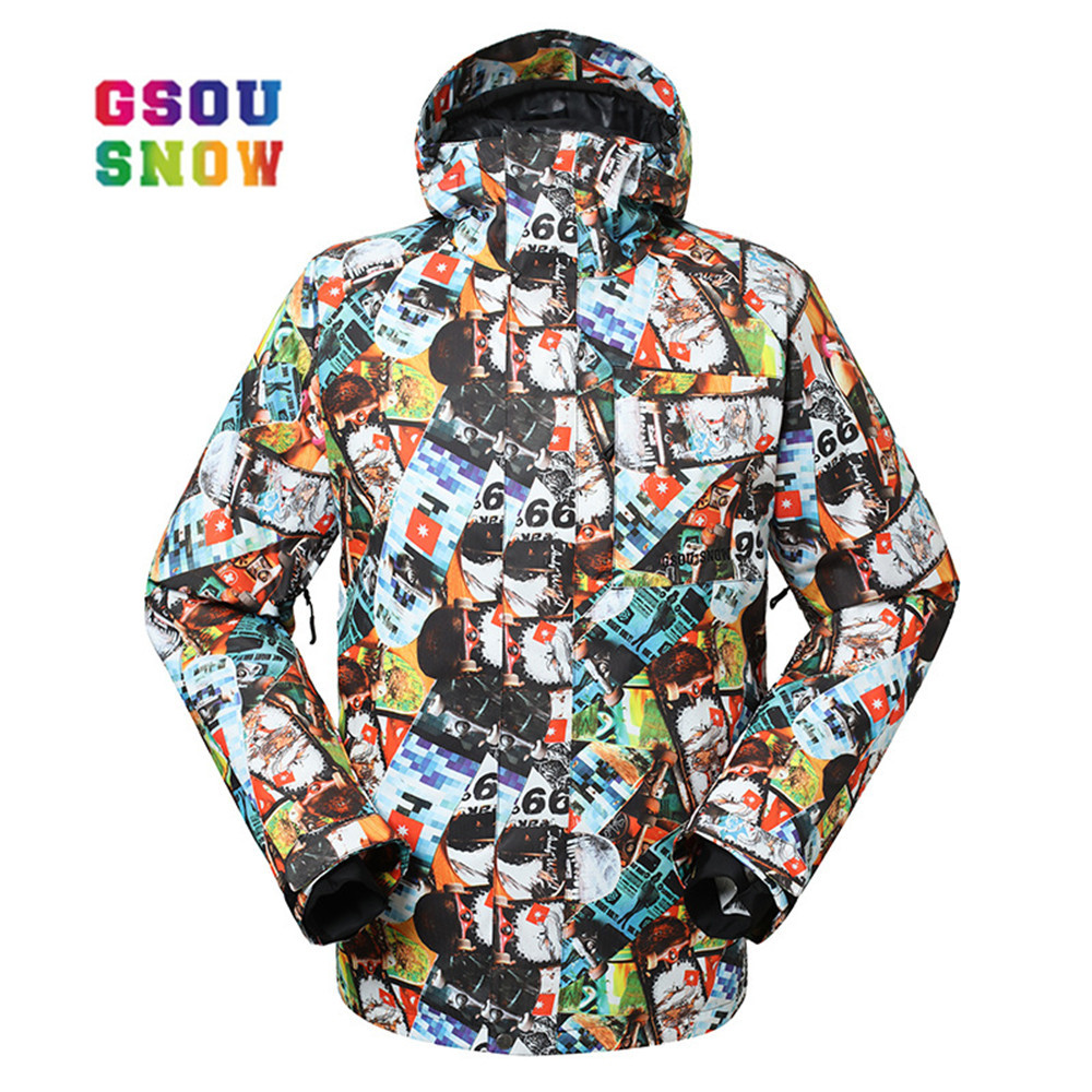 GSOU SNOW Winter Ski Jackets Male Warmth Outdoor Snowboard Quality Waterproof Breathable Male Sports Jackets Windproof gsou snow winter women ski suit warmth outdoor snowboard jacket waterproof windproof breathable lady sports jackets plus size