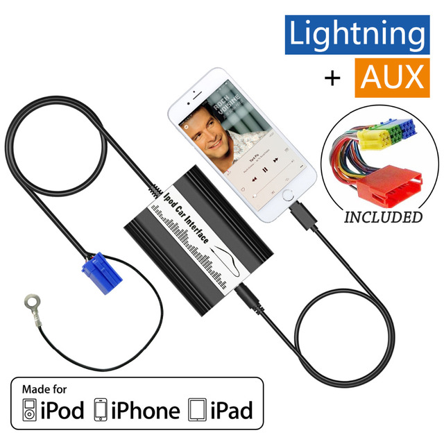 Auto iPod iPhone Adapter Car MP3 Interface Lightning 8Pin Charger for 1998-2006 Audi A2 A3 A4 A6 A8 S4 S6 S8 TT AllRoad