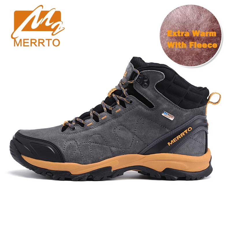 MERRTO Waterproof Hiking Boots For Men Outdoor Genuiner Leather Mens Hiking Shoes Winter Fleece Warm Snow Boots Trekking Shoes yin qi shi man winter outdoor shoes hiking camping trip high top hiking boots cow leather durable female plush warm outdoor boot
