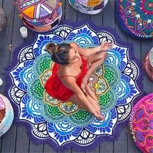 CAMMITEVER Large Lotus Flower Mandala Light Weight Tapestry - Outdoor Beach Roundie - Hippie Gypsy Boho Throw Towel autumn flower mandala print round beach throw
