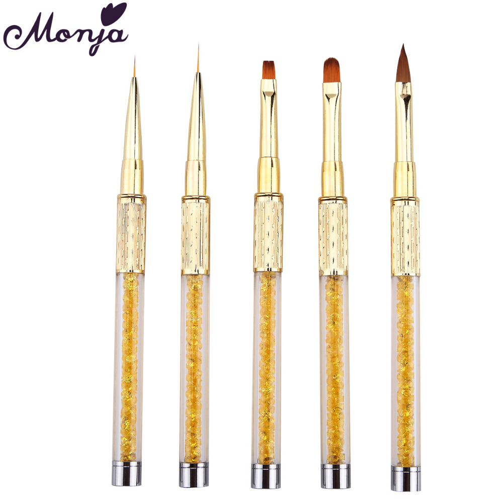 Monja Nail Art Brush Made Of Acrylic Rhinestone Handle Material For Nail Liner Brush Tool 5