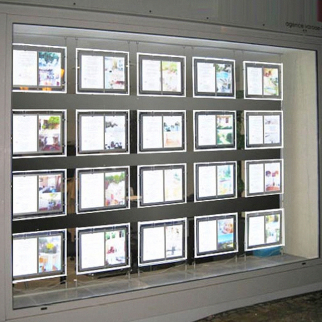 Immobilien Buro Fenster Led Acryl Plakatrahmen Display Leuchtkasten