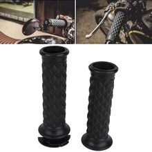 Hot 1 Pair 7/8 Inch Vintage Black Motorcycle Handlebar Hand Grip for Cafe Racer Bobber Clubman Custom for Motorcycle Parts
