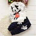 Um 2016 parágrafo algodão Mickey crianças terno das crianças roupas de outono crianças Coreanas calças longo-sleeved terno 100% algodão