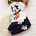 Un 2016 de los niños ropa de otoño párrafo de algodón de Mickey juego de los niños los niños Coreanos de manga larga traje de pantalones de algodón 100%