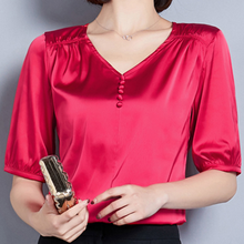 Women Shirts Silk Tops Elegant Office Lady V-neck Female Plus Size Top Korean Woman 2019 White Ladies