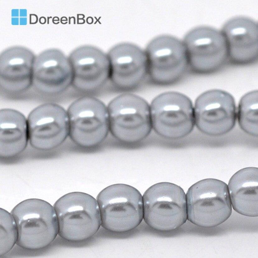 DoreenBox Verre Argent-gris Perle Ronde Imitation Perles Environ 6mm Dia, trou: Environ 1mm, 82 cm long, 5 Brins