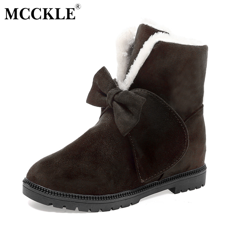 MCCKLE Female Warmer Plush Bowtie Fur Suede Slip On Winter Ankle Snow Boots 2017 Women's Fashion Solid Platform Black Shoes fashion women ankle boots suede tassels snow boots female warm plush bowtie fur rubber flat silp on platform black shoes casual