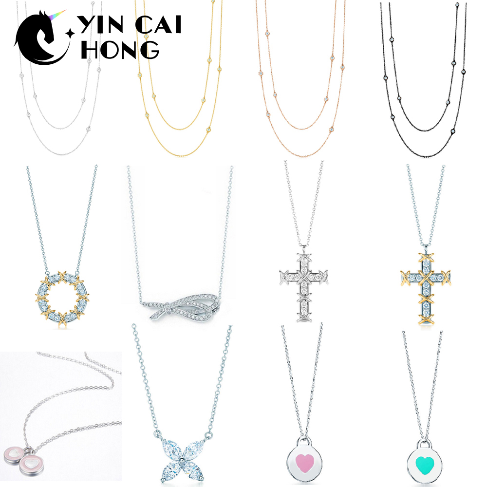 YCH Charm Gift 925 Sterling Silver Clover Heart Cross Pendant Tiff Necklace 18K Gold Rose Gold Silver Match World Jewelry yoursfs heart necklace for mother s day with round austria crystal gift 18k white gold plated